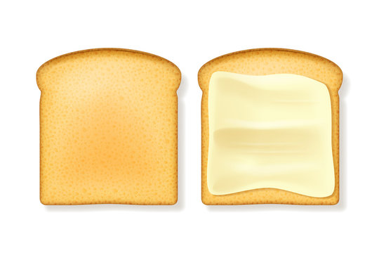 Realistic 3d Detailed Butter Spreading Bread Set. Vector