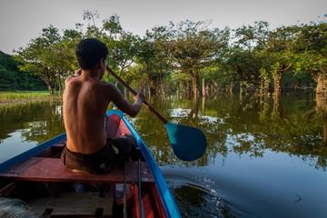 Fototapeta traditional fishermen in indigenous territory and protected area on the Tapajós River, Amazon - Brazil obraz