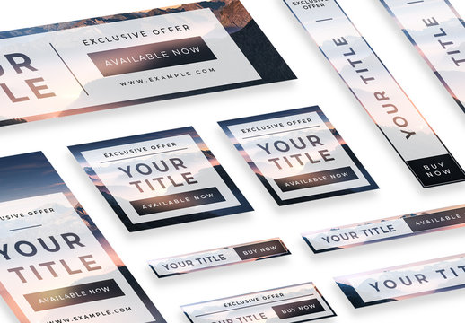 Web Banner Set with White Overlay Effect
