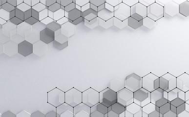 Fondo abstracto de alta tecnología digital. Fondo de hexágonosFormas geométricas en fondo blanco.Circuito y redes.
