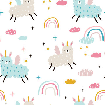 Seamless childish pattern with funny llama unicorns, rainbows, clouds. Creative kids texture for fabric, wrapping, textile, wallpaper, apparel. Vector illustration