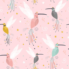 Seamless childish pattern with fairy collibi, stars. Creative scandinavian style kids texture for fabric, wrapping, textile, wallpaper, apparel. Vector illustration