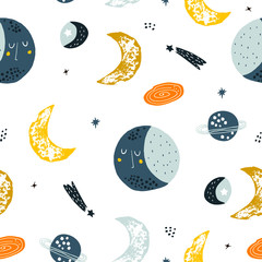 Estores personalizados con tu foto Childish seamless pattern with hand drawn space elements space, moon, star, planet, galaxy. Trendy kids vector background.