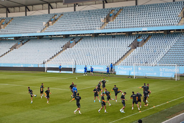 Bnei Yehuda Tel Aviv players warm up during a training session at a football stadium in Malmo