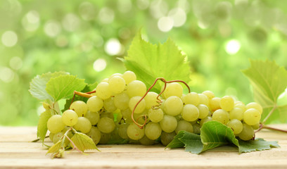 White bunch of ripe grape on blurred green background Fototapete
