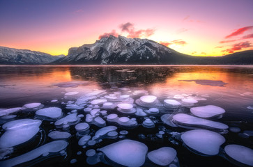 Poster Lichtroze Winter Sunrise@ Minnewanka Lake, Banff National Park, Alberta, Canada