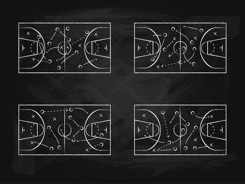 Black Chalkboard with Basketball Background Card Set. Vector