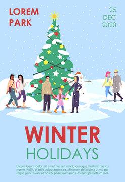 Winter holidays brochure template