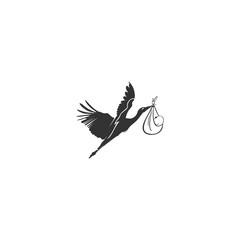 Stork logo. Bird design illustration.