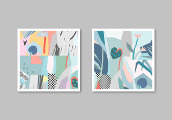 Abstract Illustrative Floral Cards Layout Set