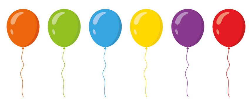 Colored balloons in flat style set . Vector illustration