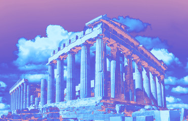 Fototapete - Parthenon temple in Acropolis in Athens, Greece. in vibrant gradient holographic colors