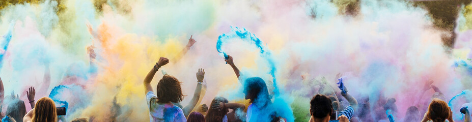People enjoying the holi party. Indian festival of colors