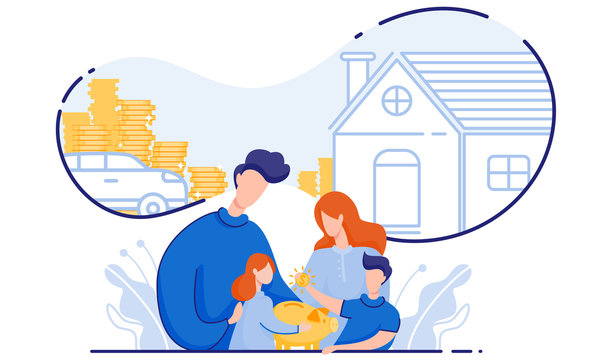 Family Saves Money Buy House and Car. Vector.