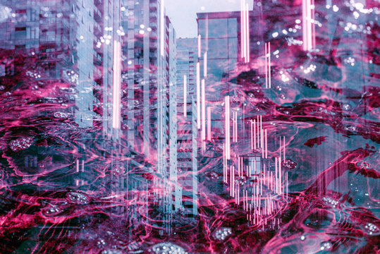 City underneath purple water