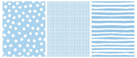 Hand Drawn Childish Style Vector Pattern Set. White Horizontal  Stripes on a Blue Background. White Grid On a Blue Layout. White Polka Dots on a Blue.  Cute Simple Geometric Design.