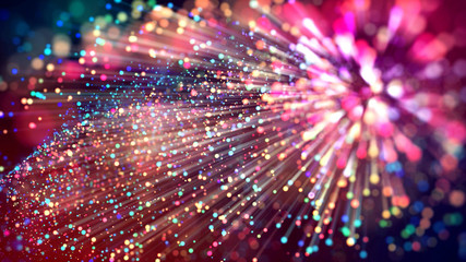 3d abstract beautiful background with colorful glowing particles, depth of field and bokeh effect. Abstract explosion of multicolored shiny particles or light rays like laser show. Fototapete