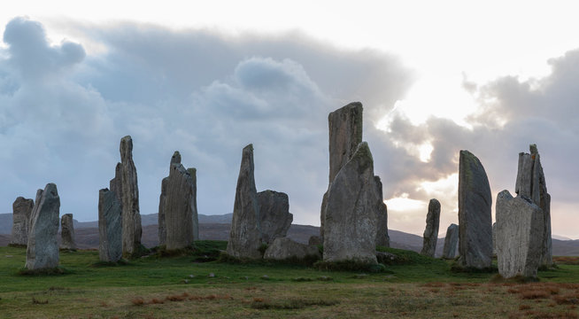 Megalithic stones at sunset on the Isle of Lewis