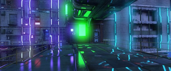 Fotomurales - Photorealistic 3d illustration of the neon night in a futuristic city in the style of cyberpunk. Empty street with neon lights. Beautiful night cityscape.