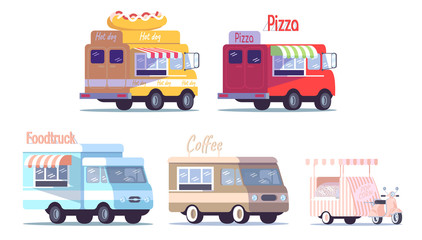 Street food trucks flat vector illustrations set. Ready takeaway meal vehicles. Restaurant, cafe on wheels. Cars for selling hot dogs, pizza, coffee, popcorn isolated cartoon on white background