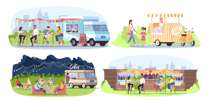 Street food festival flat vector illustrations set. City fest. Park cafe. Summer outdoor rest in town. Ready takeaway meal kiosks, walking, eating, chatting people isolated cartoon characters