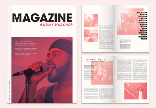 Magazine Layout with Red Overlay Elements