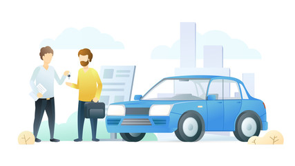 Car dealership service flat vector illustration. Salesman gives customer car keys cartoon characters. Vehicle rental business, automobile showroom, salon. Transport sale, successful agreement.
