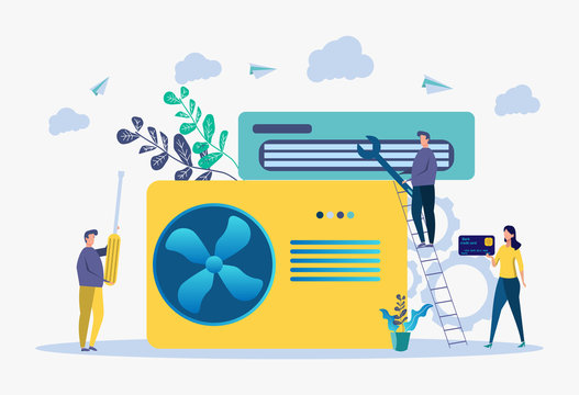 Air conditioning and cooling services, installation and repair of air conditioners, the best specialists. Colorful vector illustration