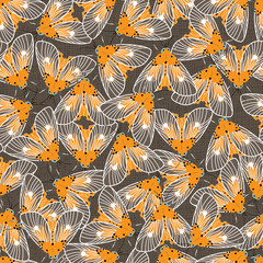 Vector yellow and brown moths with detailed wings outlines repeat pattern. Suitable for gift wrap, textile or halloween wallpaper.