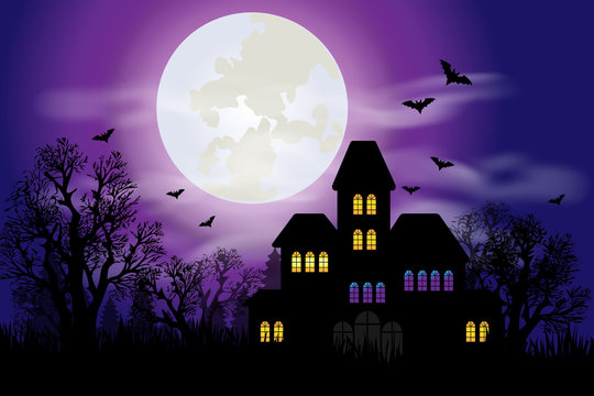 Haunted house with full moon and bats for Halloween night
