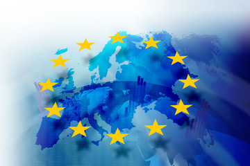 Obraz Background image with media screen Diagrams and graphs. In the background is the outline of the Union of Europe - fototapety do salonu