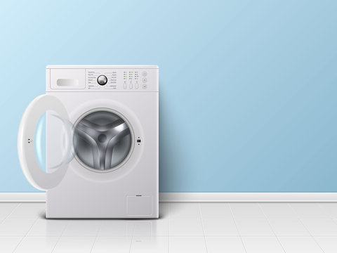 Vector 3d Realistic Modern White Steel Opened Washing Machine Closeup. Design Template of Wacher. Front View, Laundry Concept