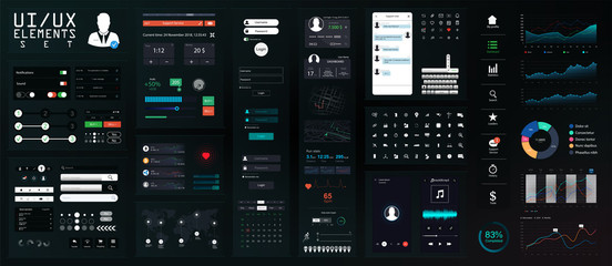 Dark UI Elements Big Set. Modern Mobile UI, UX, Kit for App Development in Flat Style. Modern Interface Mockup for Mobile, PC, Applications. Set of Forms, Dividers, Bars, Icons and Buttons. Vector set
