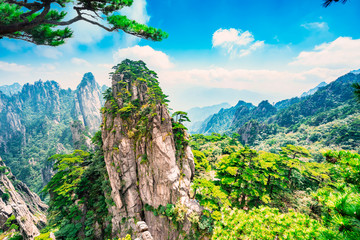Wall Murals Salmon Landscape of Mount Huangshan (Yellow Mountains). UNESCO World Heritage Site. Located in Huangshan, Anhui, China.