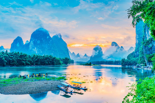 Landscape of Guilin. Li River and Karst mountains in the morning. Located in Xingping, Yangshuo, Guilin, Guangxi, China.