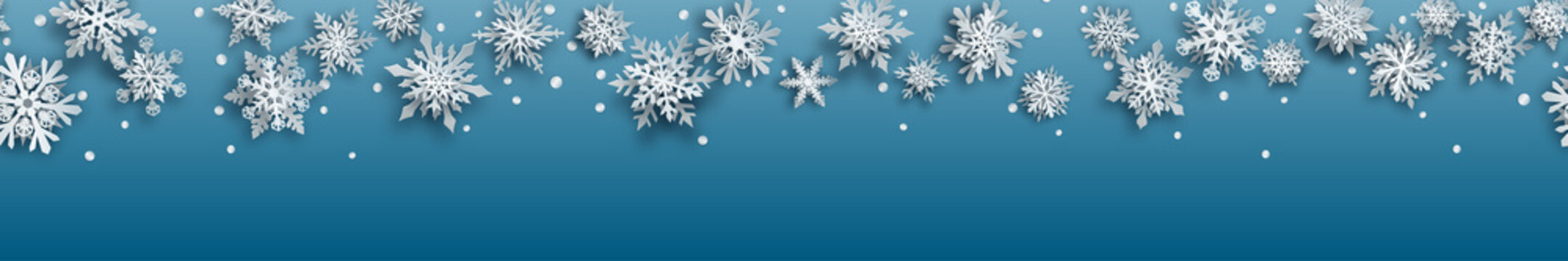 Christmas banner of white complex paper snowflakes with soft shadows on light blue background. With horizontal repetition