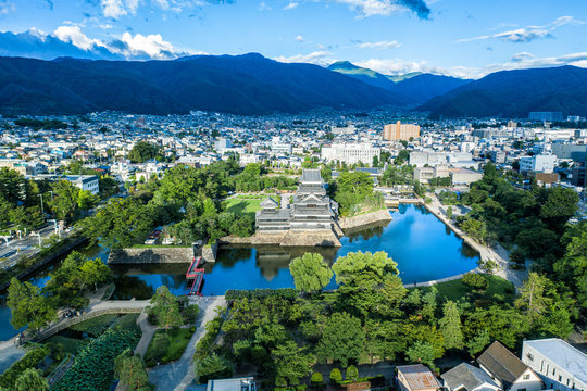Aerial drone photo - Matsumoto Castle.  Matsumoto City, Nagano Prefecture.  Japan