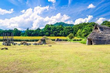 縄文住居とひまわり畑