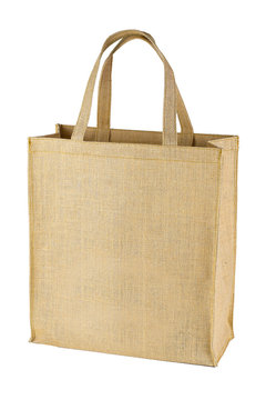 Shopping bag made of sackcloth on a white background.