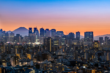 Tokyo, Japan - AUG 20 2019 - View of tokyo sky twilight with MT.fuji sunset
