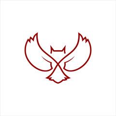 simple line red art owl logo design idea