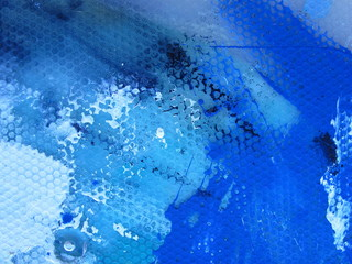 Macro Blue Paint with Grunge Background