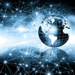 Wall Mural - Best Internet Concept of global business. Globe, glowing lines on technological background. Wi-Fi, rays, symbols Internet, 3D illustration