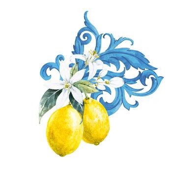 Watercolor lemon composition