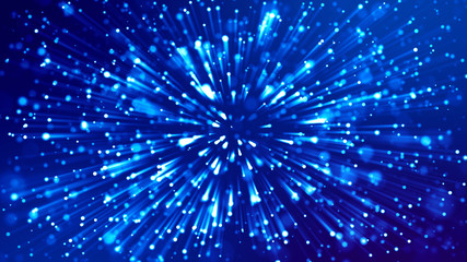 3d rendering of abstract blue background with glowing particles like micro world science fiction with depth of field and bokeh. Blue light rays like laser show for bright festive presentation Wall mural