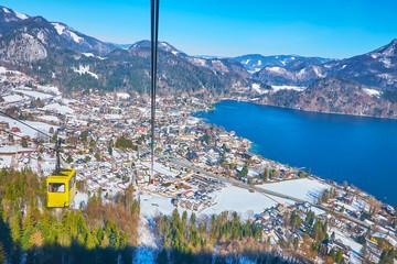Aerial view of St Gilgen with vintage air lift gondola, Salzkammergut, Austria