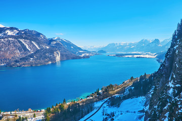Aerial view of Wofgangsee lake, St Gilgen, Salzkammergut, Austria