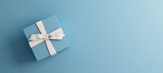 Mock-up poster, baby blue gift box with white bow on light blue background, 3D Render, 3D Illustration