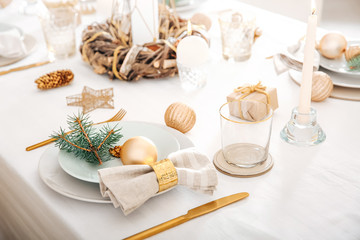Beautiful table setting for Christmas dinner Wall mural