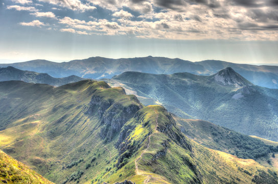 Panorama from the Puy Mary mountain, Cantal, France